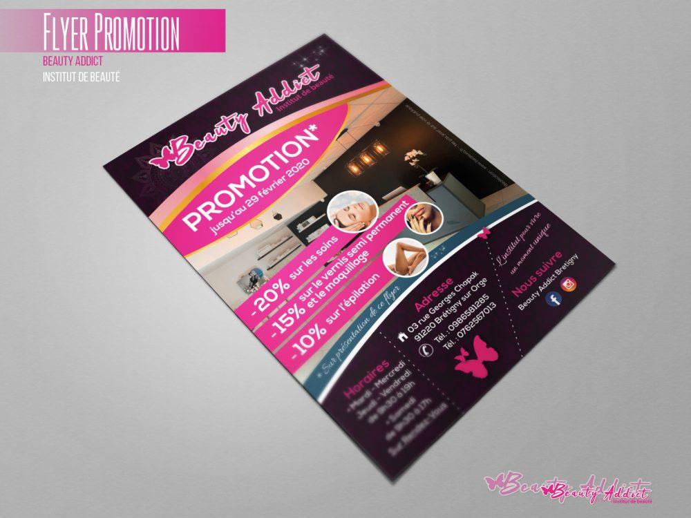 Flyer pour l'institut de beauté Beauty Addict